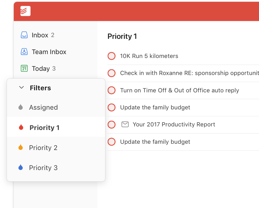 todoist premium feature filters user interface